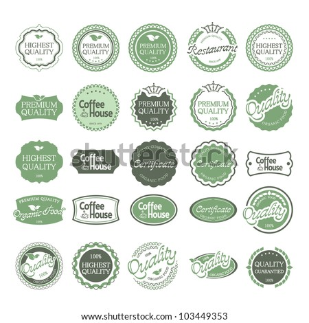 Premium Quality Labels with retro vintage design - stock vector