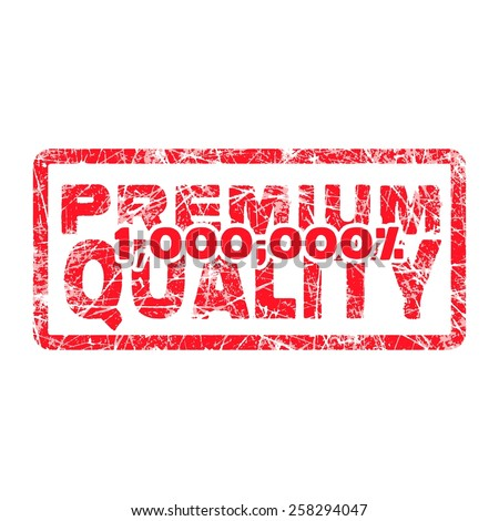 premium quality million percent grungy and scratched red stamp isolated on white background - stock vector