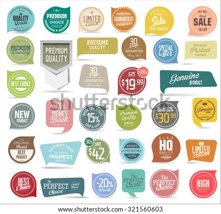 Premium, quality modern labels collection - stock vector