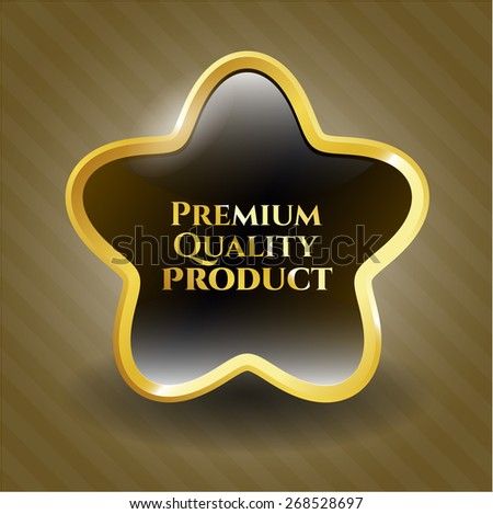 Premium quality product gold shiny star - stock vector