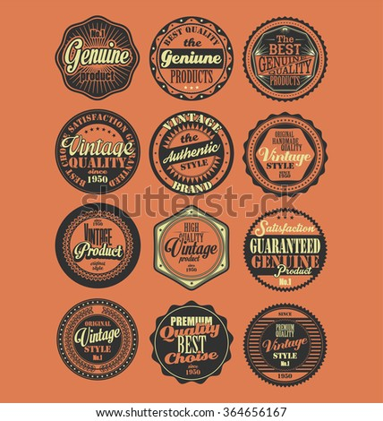 Premium Quality retro badges collection red background set - stock vector