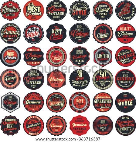 Premium Quality retro badges collection red set - stock vector
