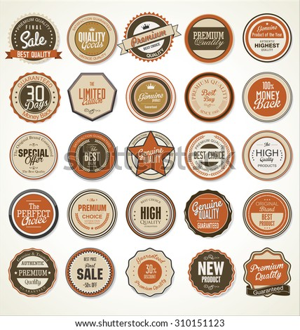Premium, quality retro vintage labels collection - stock vector