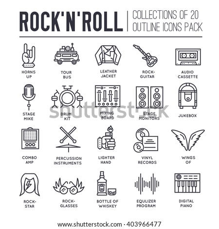 Premium quality ROCK'N'ROLL outline icons collection set.  Music equipment linear symbol pack. Modern template of thin line icons, logo, symbols, pictogram and flat illustrations concept.  - stock vector