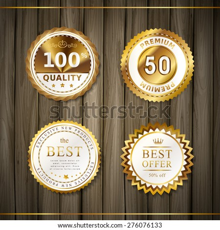 premium quality round gold labels collection over wooden plates - stock vector