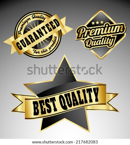 premium quality vintage labels with ribbons in gold black green color  - stock vector