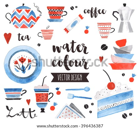 Premium quality watercolor icons set of traditional tea pot, bright ceramic plates. Hand drawn realistic vector decoration with text lettering. Flat lay watercolor objects isolated on white background - stock vector