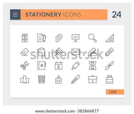 Premium Stationery Line Vector icon set - stock vector