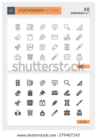 Premium Stationery Solid and Line Vector icon set - stock vector