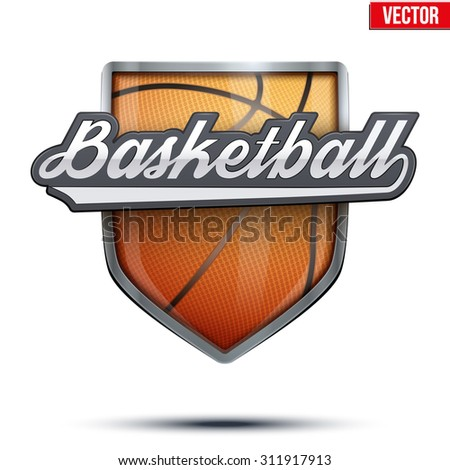 Premium  symbol of Basketball label. Symbol of sport or club. Vector Illustration isolated on white background. - stock vector