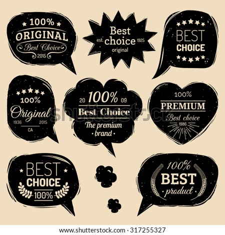 Premium vector logo set. Flat style speech bubbles with Best Choice, 100 % Original text. - stock vector