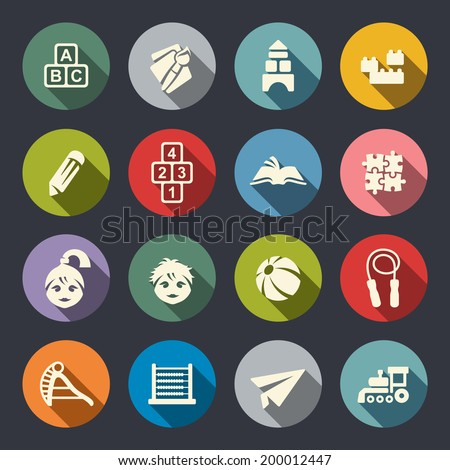 Preschool education Icons - stock vector