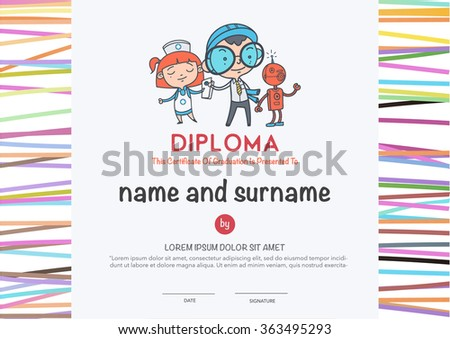 Preschool Elementary school Kids Diploma certificate and hand draw icons education. - stock vector