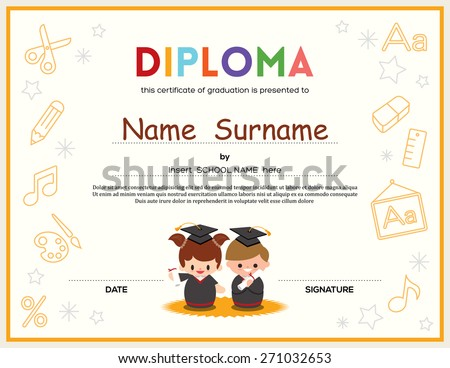Preschool Kids Diploma certificate background design template - stock vector