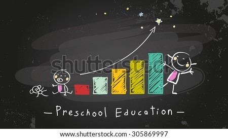 Preschool kids education growing chart, graph. Chalk on blackboard doodle style education, learning concept vector illustration. - stock vector