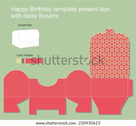 Present Box with Happy Birthday label - stock vector