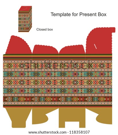 Present box with romanian ethnic ornaments - stock vector
