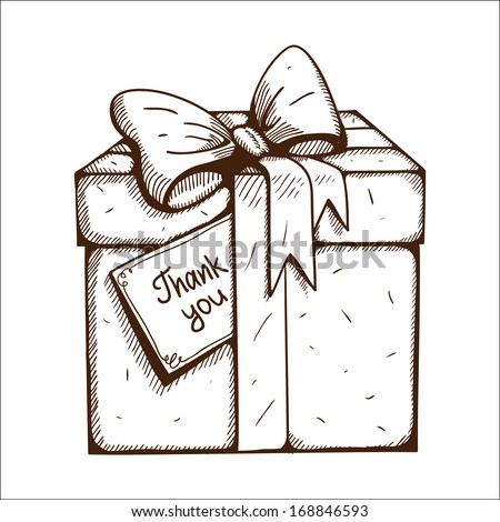 Present box with thank you text. Sketch vector illustration - stock vector