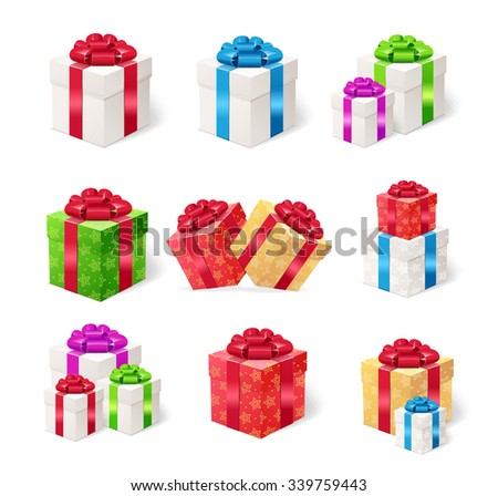Present Boxes Set  Isolated on White Background. Vector illustration - stock vector