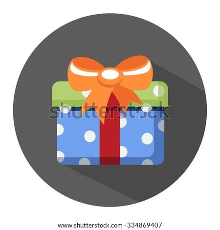present flat icon - stock vector