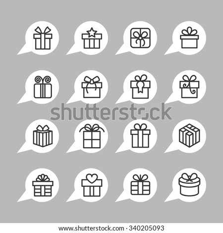 Present icons / Gift icons / Gift box icons / Christmas gift icons / Holiday gift icons / Birthday gift icons / Celebration gift icons / Gift pictogram icons / Surprise gift icons / Decoration gift  - stock vector