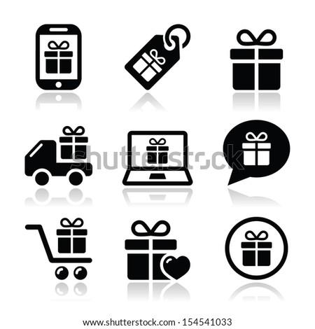 Present, shopping vector icons set - stock vector