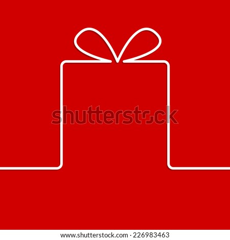 Present with white ribbon bow - stock vector