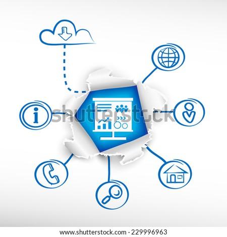 Presentation billboard sign and sketch diagrams. Doodle vector illustration. Breakthrough paper hole. - stock vector