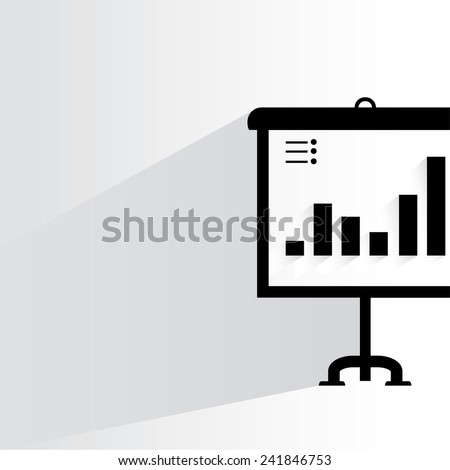 presentation concept on white background, flat and shadow theme - stock vector