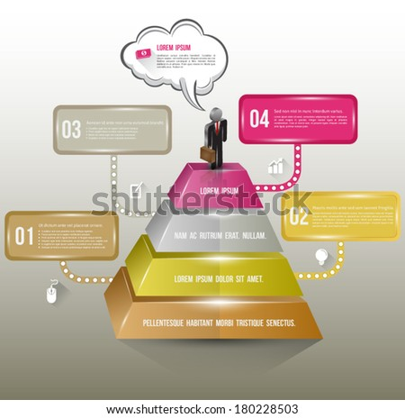 Presentation 3D template with a pyramidal diagram symbolizing hierarchy or other differences, Banner options, business concept, level template, marketing plan. - stock vector
