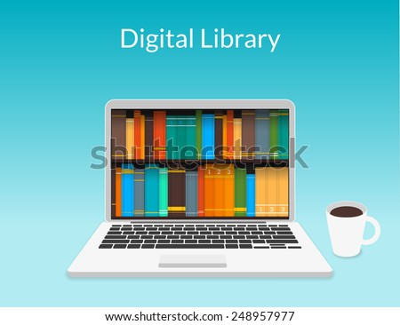 Presentation of realistic open laptop with digital eBooks shelf collected in the international internet library store around the world - stock vector