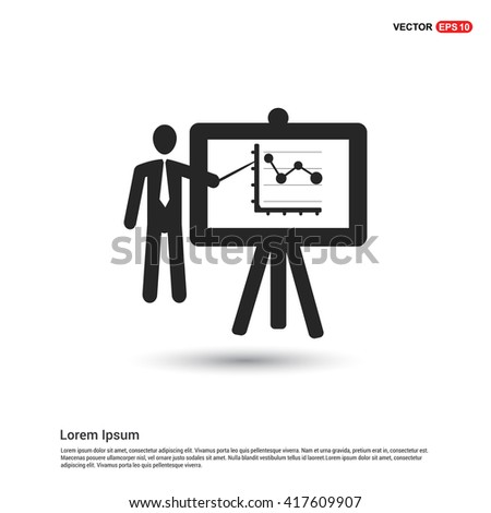 Presentation on business growth icon.  - stock vector