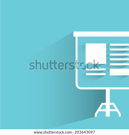 presentation projector, blue background, flat and shadow theme - stock vector