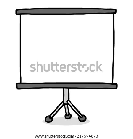 presentation screen / cartoon vector and illustration, grayscale, hand drawn style, isolated on white background. - stock vector