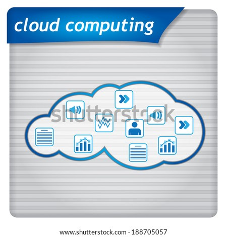 Presentation template - cloud computing illustration with icons - stock vector