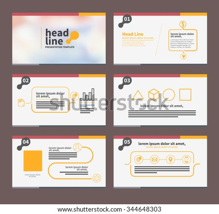 presentation template flat design set for brochure flyer marketing and advertising and iconâ?¨ - stock vector
