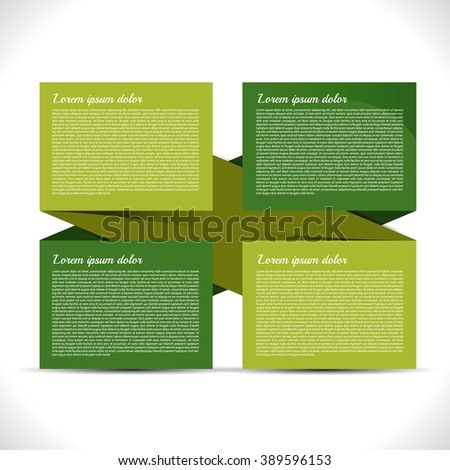 Presentation with four text boxes - stock vector