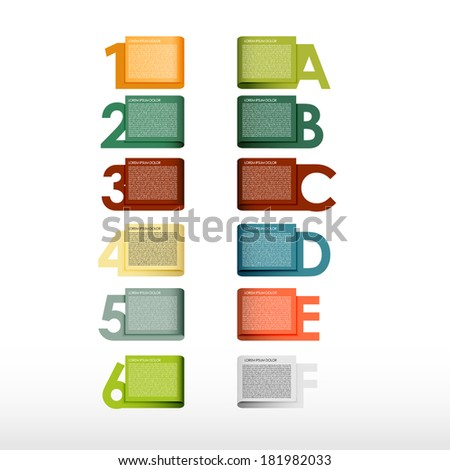 Presentation with letters and numbers - stock vector