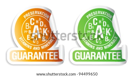 Preservation vitamins and minerals guarantee. Stickers for canned and frozen fruits and vegetables. - stock vector