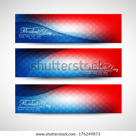 President Day in United States of America with colorful header set vector design - stock vector