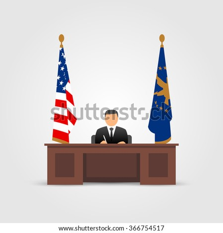 President in Oval Office in the White House - stock vector