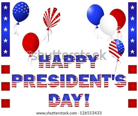 President's Day. Beautiful text and balloons with the pattern of the American flag on white. Vector illustration. - stock vector