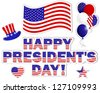 President's Day stickers with a beautiful text, hat, flag and balloons. Vector illustration. - stock vector