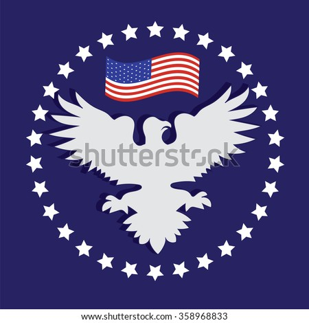 President's Day US white eagle American flag stars on a blue background vector - stock vector