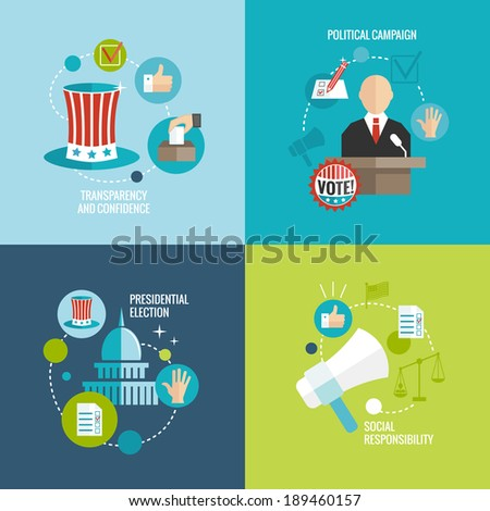 Presidential election transparency and confidence social responsibility political campaign decorative icons set isolated vector illustration - stock vector