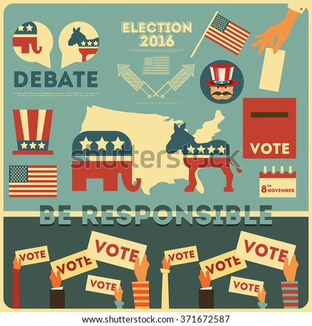Presidential Election Voting Elements. Vector Illustration. - stock vector