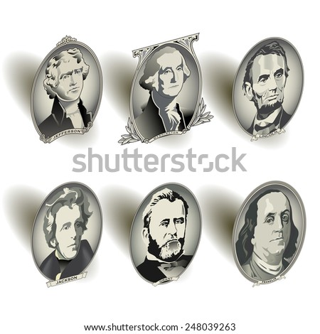 Presidential oval bill elements  - stock vector