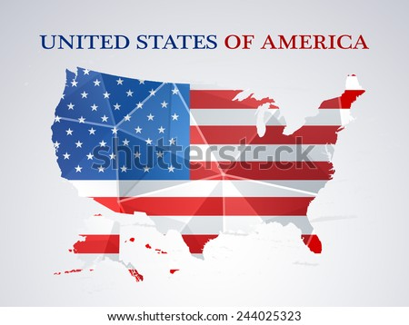 Presidents Day celebration with United States of America Map in national flag colors on grey background. - stock vector