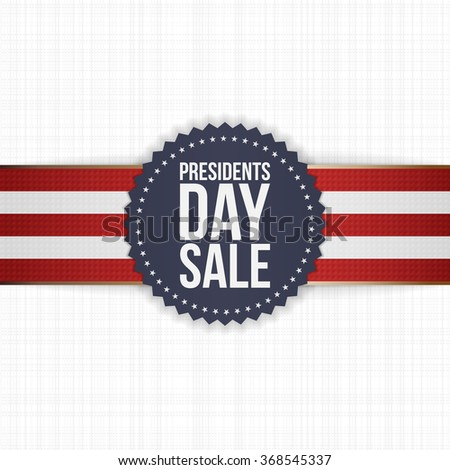 Presidents Day Sale blue Label with striped Ribbon - stock vector