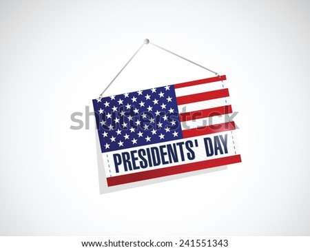presidents day us hanging flag illustration design over a white background - stock vector